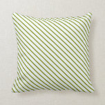 [ Thumbnail: Green and Mint Cream Colored Pattern Throw Pillow ]