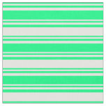 [ Thumbnail: Green and Mint Cream Stripes Pattern Fabric ]