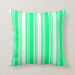 [ Thumbnail: Green and Mint Cream Stripes Pattern Throw Pillow ]