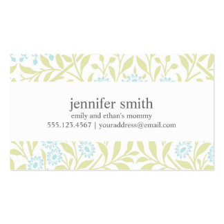 Green and Mint Floral Damask Pattern Double-Sided Standard Business Cards (Pack Of 100)