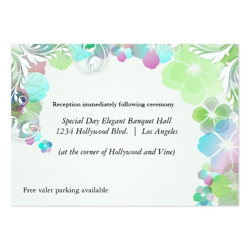 Green And Multicolor Pansies Reception Card Business Card Templates