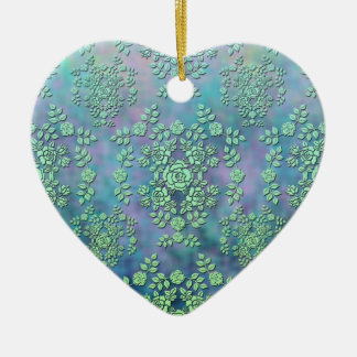 Green and Multicolor Rose Floral Damask Ceramic Ornament