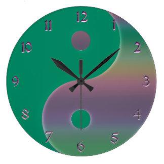 Green and Muted Rainbow Yin Yang Clock