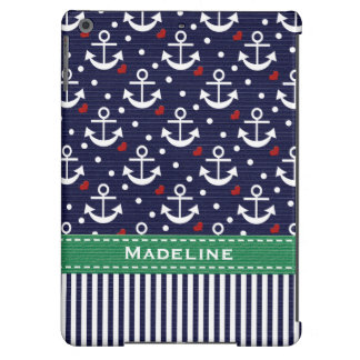 GREEN AND NAVY ANCHOR iPad AIR CASES