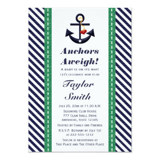 Green and Navy Anchor Nautical Baby Shower 5x7 Paper Invitation Card