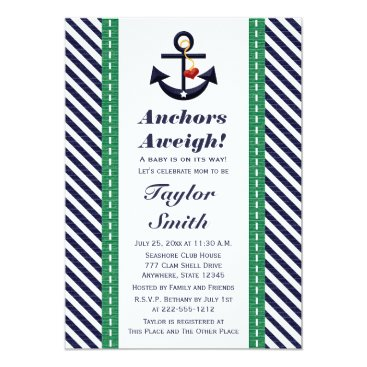Beach Themed Green and Navy Anchor Nautical Baby Shower Card