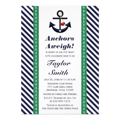 Green and Navy Anchor Nautical Baby Shower Custom Invitation