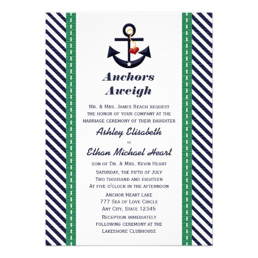 Green and Navy Anchor Nautical Wedding Invitations