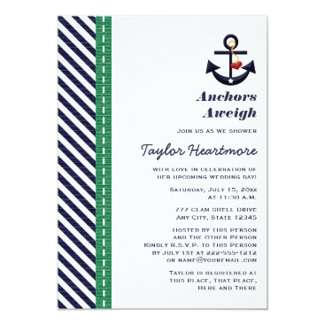 Beach Themed Green and Navy Blue Anchor Bridal Shower Invites