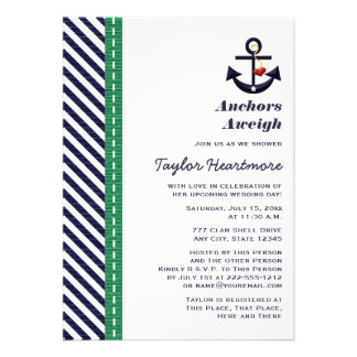 Green and Navy Blue Anchor Bridal Shower Invites