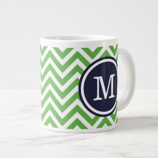 Green and Navy Blue Chevron Custom Monogram Large Coffee Mug