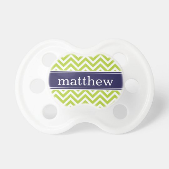 Green and Navy Blue Chevron Monogram Pacifier