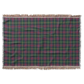 Green and Navy Blue Clan Logan Scottish Plaid Throw
