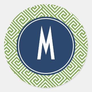 Green and Navy Blue Greek Key Pattern Monogram Classic Round Sticker