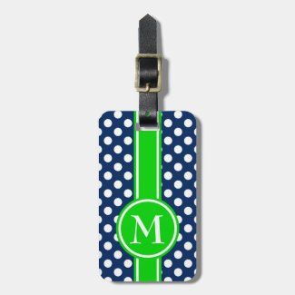 Green and Navy Blue Polka Dot Monogram Bag Tag
