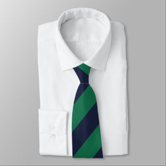 Green and Navy Blue Stripes Neck Tie
