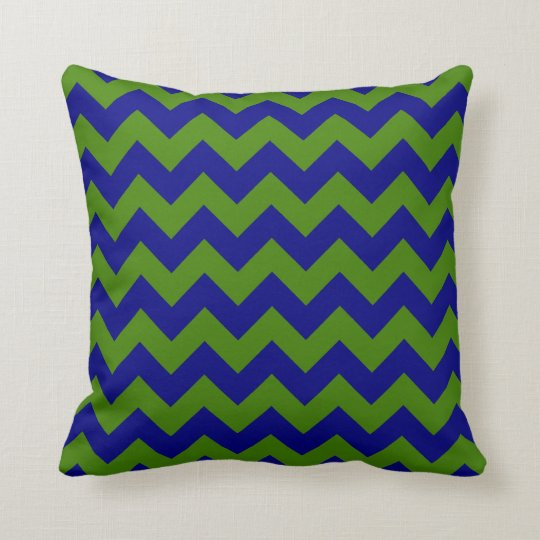 Green and Navy Blue Zigzag Throw Pillow Zazzle