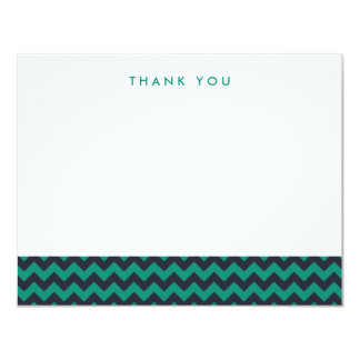 "Green and Navy Chevron Thank You Note Cards 4.25"" X 5.5"" Invitation Card"