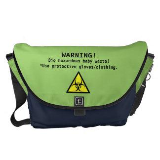 Green and Navy Diaper Bag/Bio-Hazardous-humor Messenger Bag
