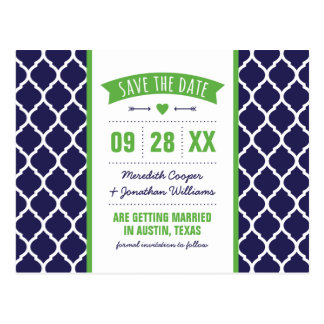 Green and Navy Modern Quatrefoil Save the Date Postcard