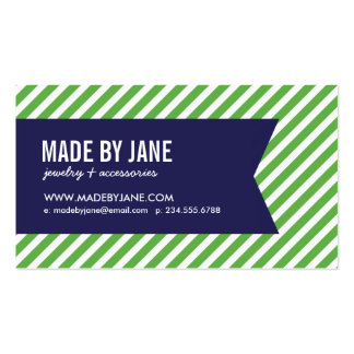 Green and Navy Modern Stripes Social Media Business Cards