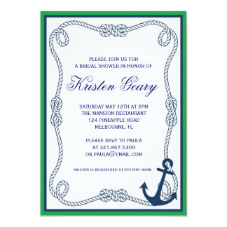 GREEN AND NAVY NAUTICAL INVITATION