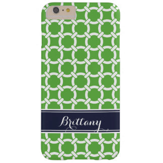 Green and Navy Preppy Links Monogram Barely There iPhone 6 Plus Case