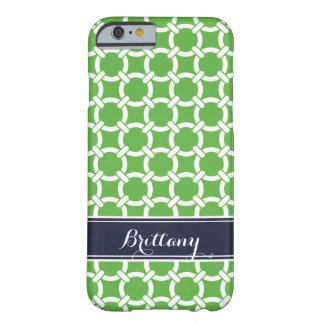 Green and Navy Preppy Links Monogram Barely There iPhone 6 Case
