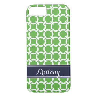 Green and Navy Preppy Links Monogram iPhone 7 Case
