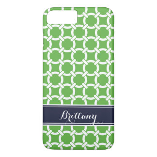 Green and Navy Preppy Links Monogram iPhone 7 Plus Case