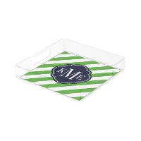 Green and Navy Preppy Stripes Monogram Acrylic Tray