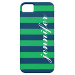 Green and Navy Stripes | Script Monogram iPhone SE/5/5s Case