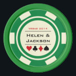 """Green and Off White Casino Wedding Poker Chips<br><div class=""""desc"""">Getting married in Las Vegas or another fun casino city? These green and white poker chips would make a perfect favor. Personalize your design with your names in black in the center,  and a wedding date,  thank you,  etc. in red on top.</div>"""