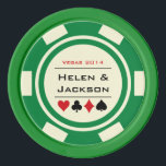 "Green and Off White Casino Wedding Poker Chips<br><div class=""desc"">Getting married in Las Vegas or another fun casino city? These green and white poker chips would make a perfect favor. Personalize your design with your names in black in the center,  and a wedding date,  thank you,  etc. in red on top.</div>"