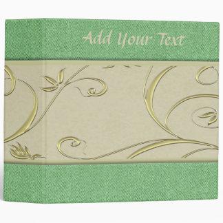 Green and Off White Elegant Binder