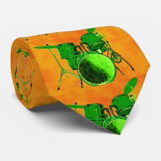 Green and Orange Abstract Drum Set Tie