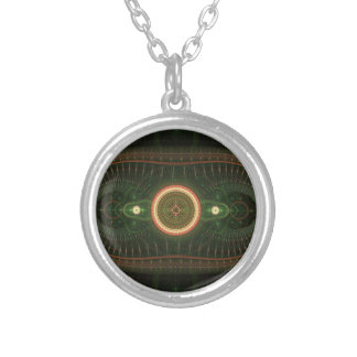Green and Orange Abstract Fractal Design Round Pendant Necklace