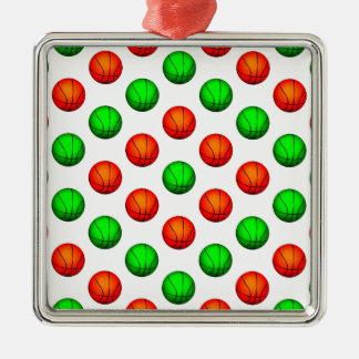 Green and Orange Basketball Pattern Metal Ornament
