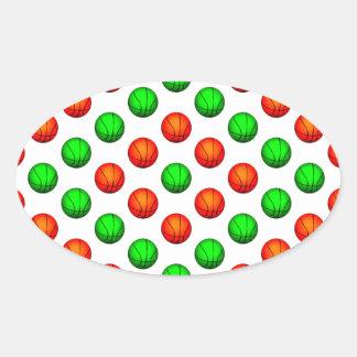 Green and Orange Basketball Pattern Oval Sticker
