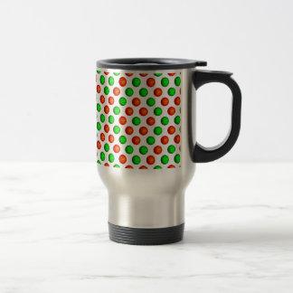 Green and Orange Basketball Pattern Travel Mug