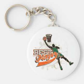 Green and Orange Basketball Tshirts and Gifts Basic Round Button Keychain