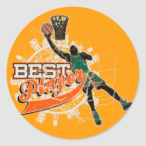 Green and Orange Basketball Tshirts and Gifts Sticker
