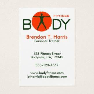 Green and Orange Body Madness Personal Trainer Business Card