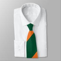 Green and Orange Broad Regimental Stripe Neck Tie