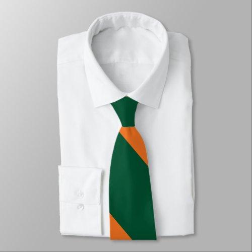 Green and Orange Broad University Stripe Tie