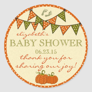 Green and Orange Bunting Baby Shower Thank You Classic Round Sticker