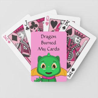 Green And Orange Chibi Dragon Bicycle Playing Cards