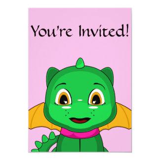 Green And Orange Chibi Dragon 5x7 Paper Invitation Card