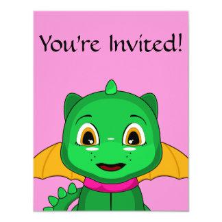 Green And Orange Chibi Dragon 4.25x5.5 Paper Invitation Card