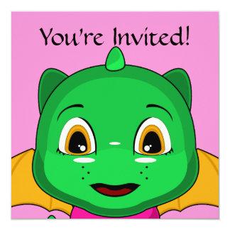 Green And Orange Chibi Dragon 5.25x5.25 Square Paper Invitation Card